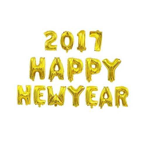 16PCS 21Inch 2017 Happy New Year Letter Aluminum Film Balloons Set Festival Celebration