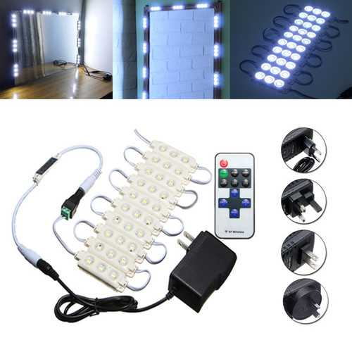 1.5M SMD5630 Waterproof White LED Module Strip Light Kit Mirror Signage Lamp + Adapter DC12V