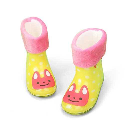 Children Girls Boys Cartoon Cotton Padded Jelly Winter Warm Rain Boots