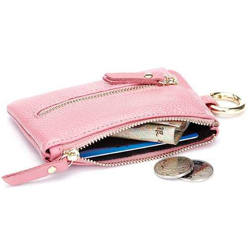 Genuine Leather Women Zipper Card Holder Girls Small Coin Bags Key Chain Bags