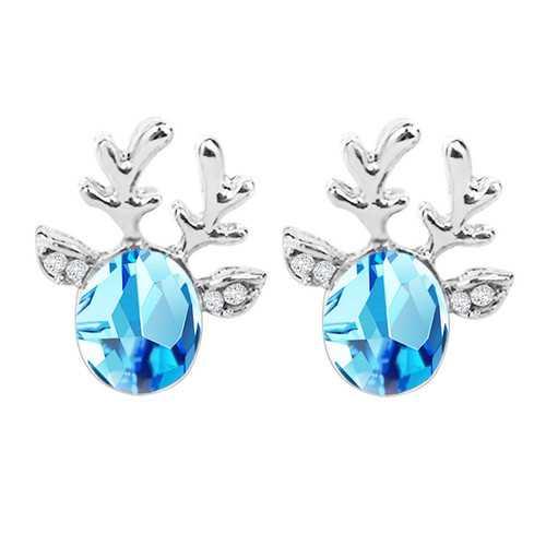 Crystal Deer Ear Stud Sweet Casual Party Earrings