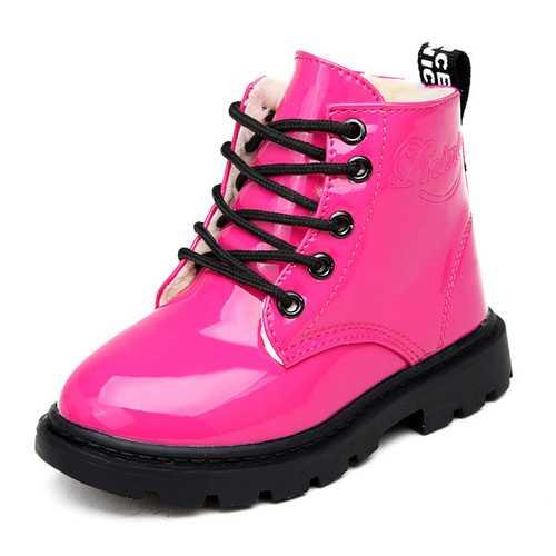 Children Unisex Winter Plush Warm Waterproof PU Leather Casual Boots