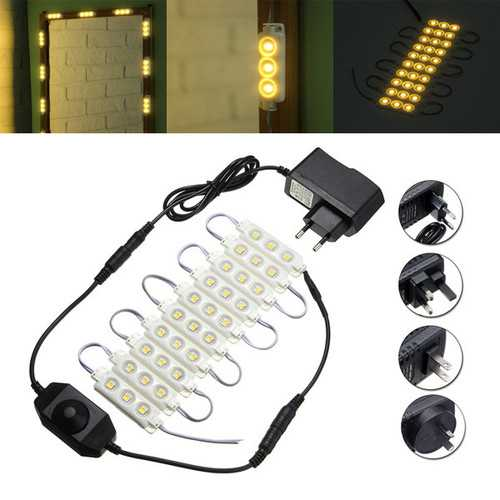 1.5M SMD5050 Waterproof Warm White LED Module Strip Light Kit Mirror Signage Lamp + Adapter DC12V