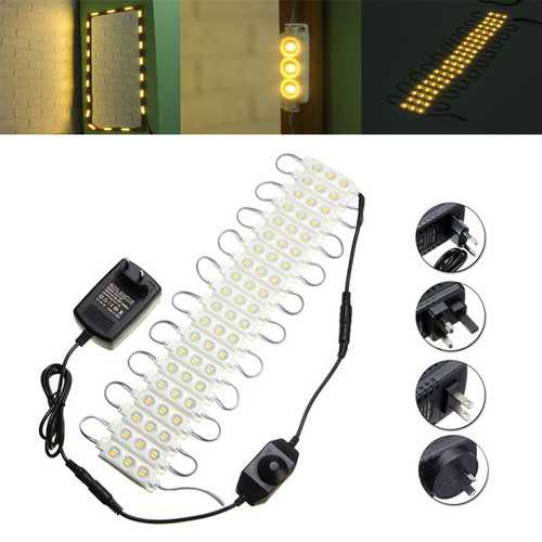 3M SMD5050 Waterproof Warm White LED Module Strip Light Kit Mirror Signage Lamp + Adapter DC12V