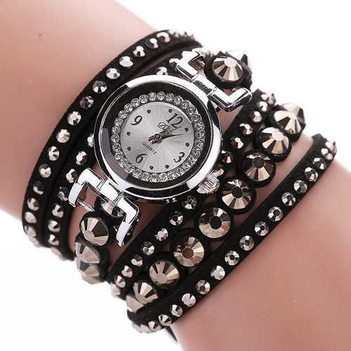 DUOYA Fashion Ladies Folk Custom Style Bracelet Watch Rhinestones Strap Elegant Women Wrist Watch