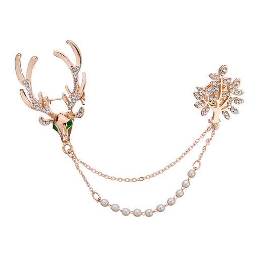 Crystal Deer Green Eyes Tree Artificial Pearl Gift Christmas Brooches