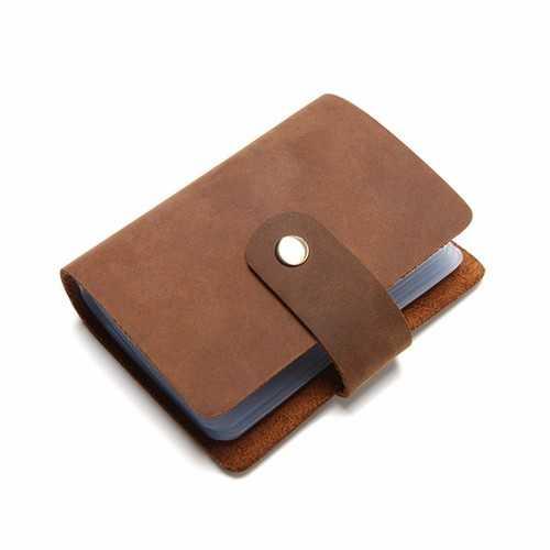 26 Card Slots Genuine Leather Card Holder Cowhide Vintage Card Bag For Women Men