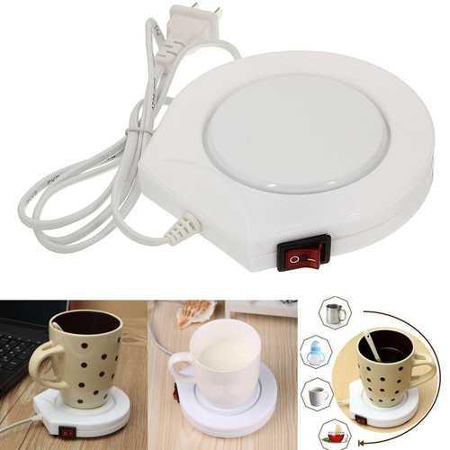 220v White Electric Powered Cup Warmer Heater Pad Coffee Tea Milk Mug US Plug