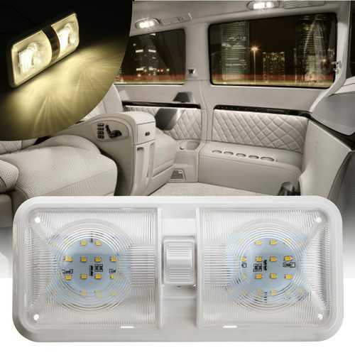 12V 48LED 2835 SMD Interior Double Dome Ceiling Light Switch For RV Boat Camper Trailer