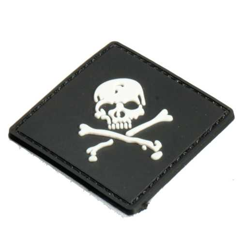 6X6cm Black Slull 3D Tactical Army Morale PVC Rubber Patch