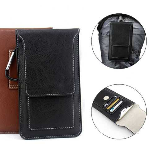 Universal Multifunctional Leather Phone Bag Metal Hook Waist Bag for Phone Under 5.5 inches