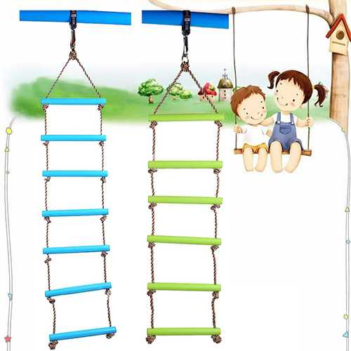 6 Rungs 2M PE Rope Children Toy Swing Max load 120KG Outdoor Indoor Plastic Ladder Rope Playground Games For Kids Climbing Rope Swing