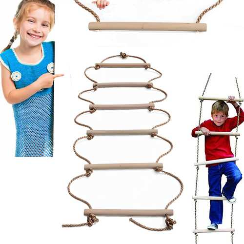 200 x 40cm Six Sticks Wooden Climbing Rope Ladder Holds Up 150kg Toys Swings For Children Swing Outdoor Indoor