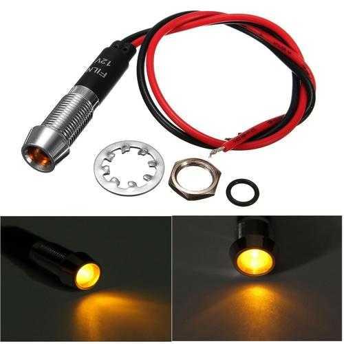 8mm 12V Amber LED Indicator Light Pilot Directional Dashboard Lamp Car Truck Boat
