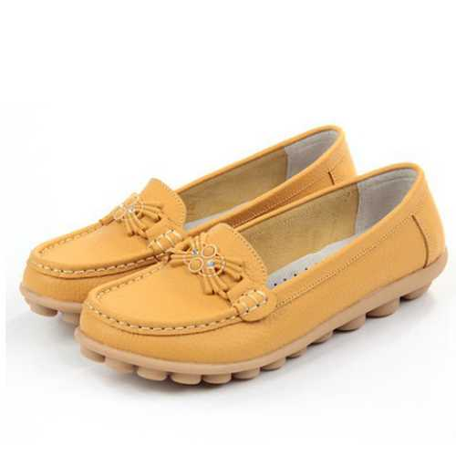 Casual Soft Sole Beaded Pattern Flat Loafers For Women