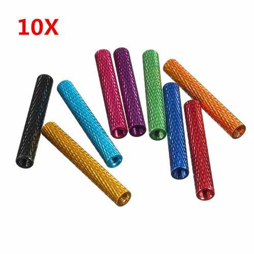 Suleve™ M3AS7 10Pcs M3 30mm Knurled Standoff Bolt Aluminum Alloy 6061 Anodized Spacer Multicolor