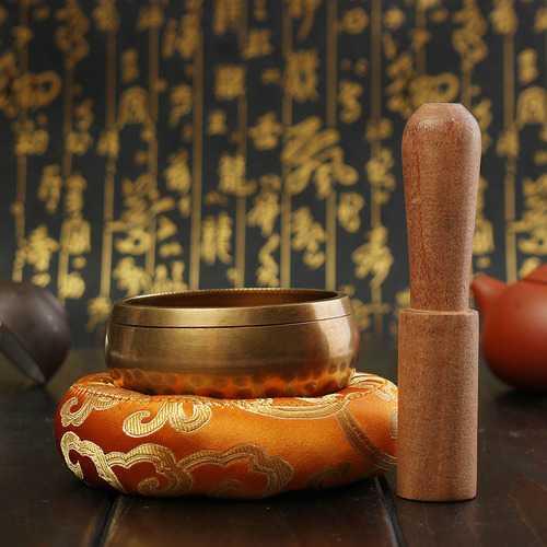 Hand Hammered Tibetan Yoga Singing Bowl Wood Sticker Mat For Chakra Meditation