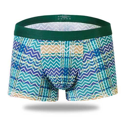 Men Breathable Soft Cotton Cross Stripe U Convex Boxers Underwear