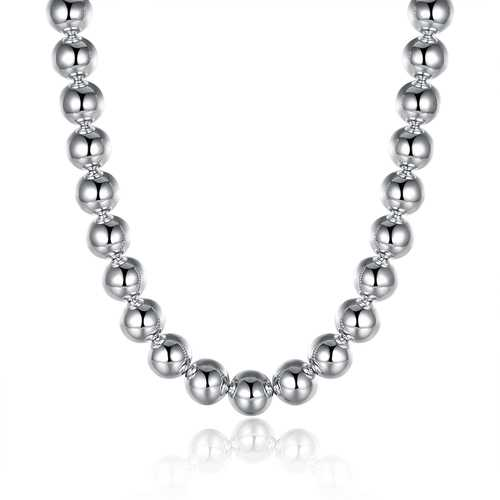 14mm Beads Men Silver Plated Necklace Chain Lucky Jewelry For Prayer