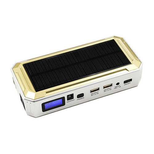 AXR-YJ0 12000mAh 2USB Multi-Function LED Display 12V Car Jump Starter Power Bank Solar Powered