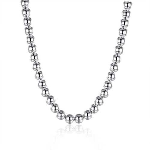 8mm Buddha Beads Necklace Multi Layer Silver Chain Women Men Jewelry