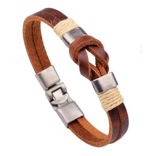 European Style Retro Vintage Leather Men Bracelet Buckle Double layers Chain