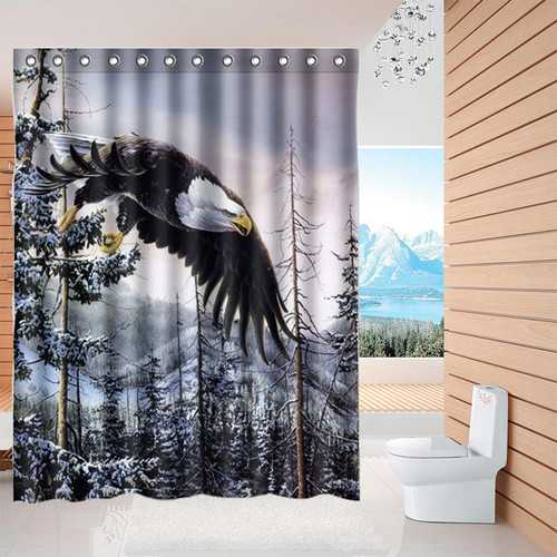 60x72 Inch Custom  Mountain Winter Bald Eagle Design Waterproof Shower Curtains