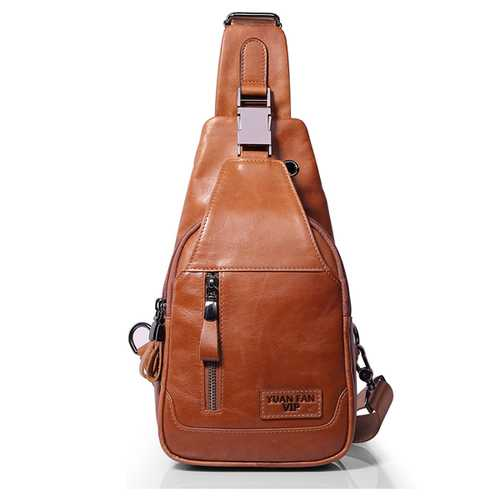 Ekphero® Men Casual Genuine Leather Oil Wax Chest Bag Crossb