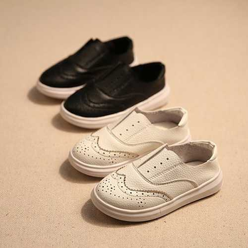 Children England Style Black White Hollow Out Slip On Flat Shoes