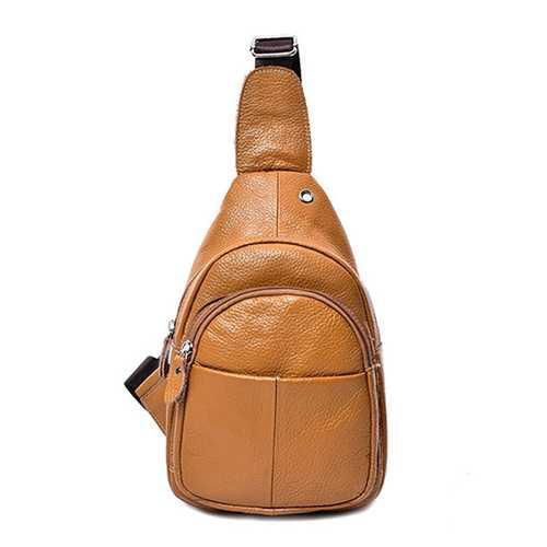 Men Genuine Leather Business Crossbody Bag Outdoor Shoulder Bag
