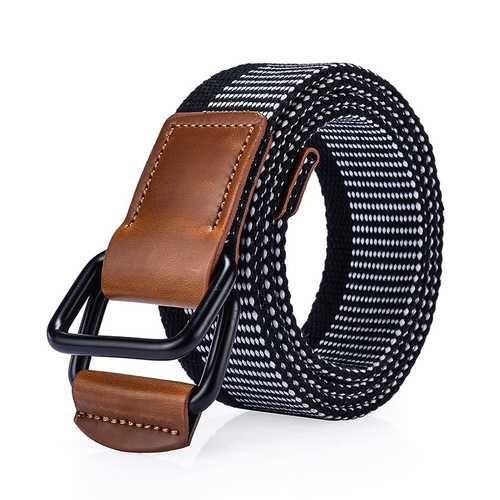 120CM Weaven Nylon Double Ring Leather Alloy Buckle Belt Military Tactical Durable Pants Strip