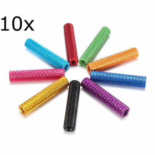 Suleve™ M3AS6 10Pcs M3 28mm Knurled Standoff Aluminum Alloy Anodized Spacer