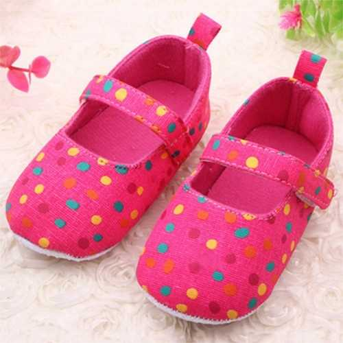 Baby Girls Colorful Polka Dot Hook Loop First Walking Shoes