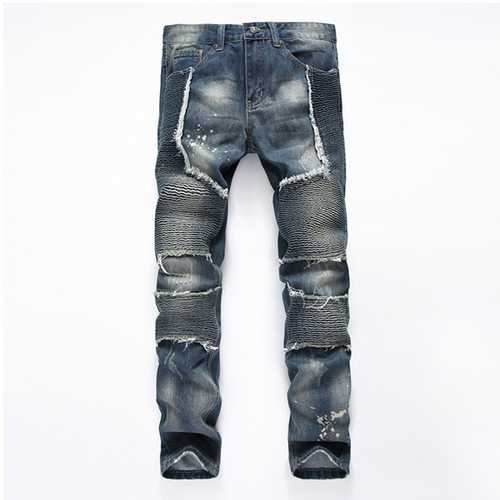 European Mens Fashion Casual Plus Size Motorcycle Straight Machine Jeans