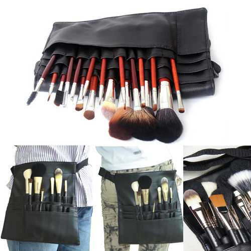 22 Pockets Professional Artist Makeup Brush Pouch Bag Strap Belt Holder Cosmetic Case