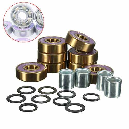 8pcs ABEC 9 Scooter Groove Ball Bearing Shaft Sleeve Skateboard Purple Bearings