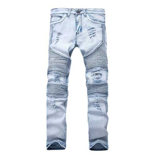 Mens Fashion Casual Motorcycle Biker Pleat Straight Legs Ripped Jeans Denim Pants