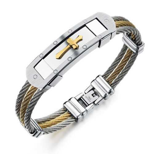316L Stainless Steel Cross Bracelet Wristband Jewelry Best Gift For Men