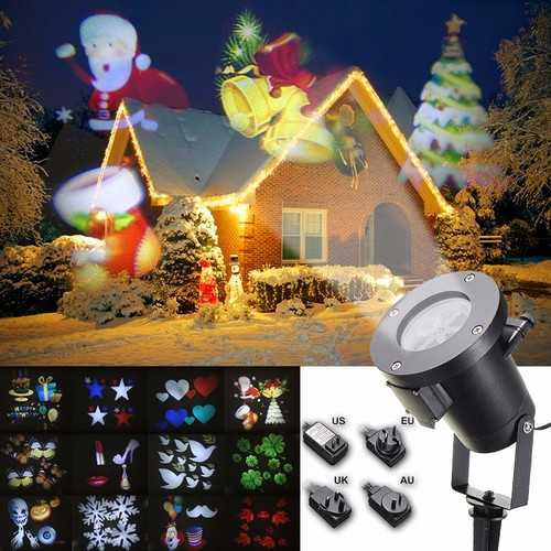 12Pattern Waterproof LED Moving Laser Projector Stage Light Christmas Halloween Lamp