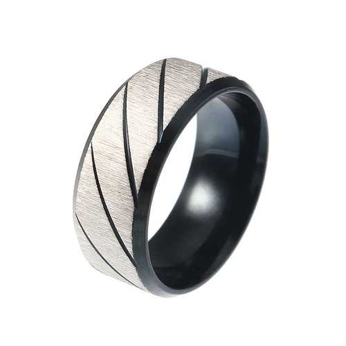 Black Stripe Stainless Steel Cool Men Ring Jewelry Best Gift