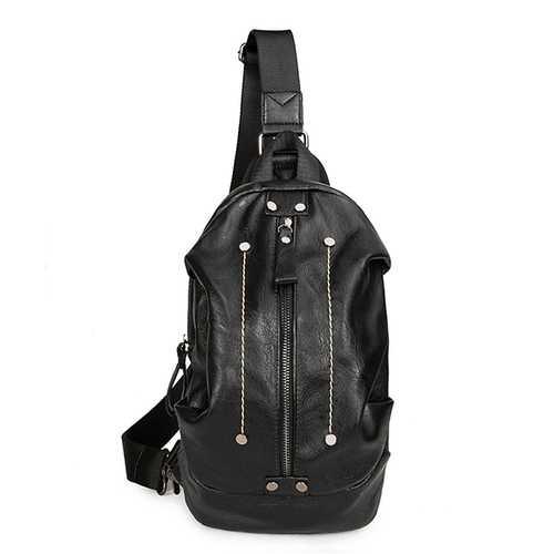 Big Capacity Shoulder Bag PU Leather Crossbody Bag Patchwork Chest Bag For Men