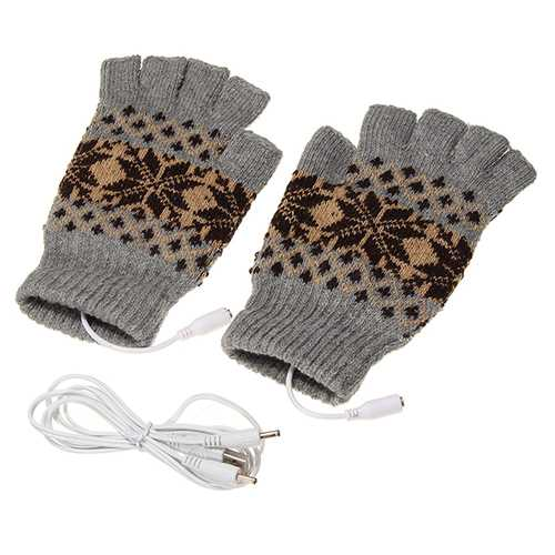 5V 1.5m USB Warmer Gloves Removable Heated Half Finger Gloves