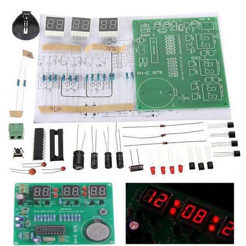 10Pcs DIY 6 Digital LED Electronic Clock Kit 9V-12V AT89C2051