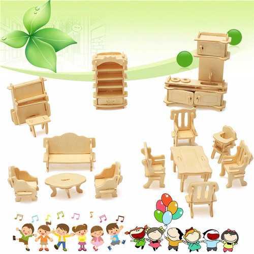 34 Pcs 3D DIY Wooden Miniature Dollhouse Furniture Model Unpainted Suite Toys