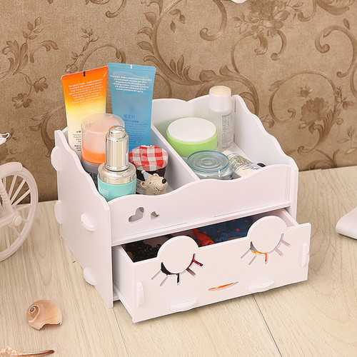 Smiling Face Cute Wooden White Makeup Organizer Neat Table Collecting Case Cosmetics Tools