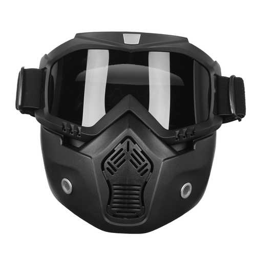 Detachable Modular Helmet Face Mask Shield Goggles Gray Lens Motorcycle Bike