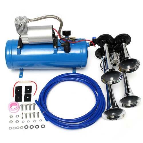 12V/24V 120 PSI 4 Air Train Chrome Horn Trumpet Vehicle Blue Compressor Tubing