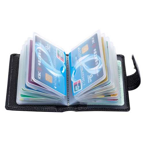 Genuine Leather RFID Blocking Credit Card Holder Hasp Business ID Case