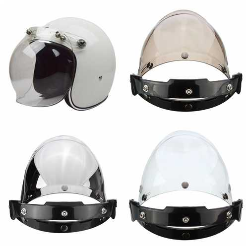 3-Snap Button Bubble Visor Flip Up Wind Face Shield Lens for Motorcycle Helmet 3 Color
