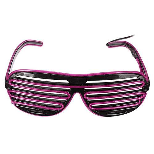 El Wire Neon LED Light Up Shutter Glasses Halloween Christmas Rave Costume Party Hip-Hop